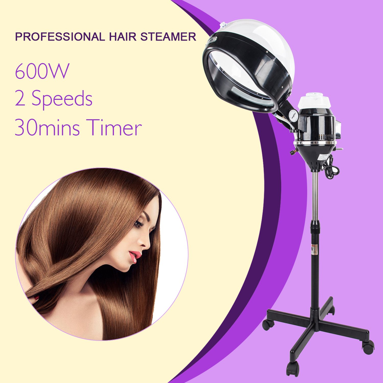Mefeir Upgraded 600W Hair Steamer Machine with Hood,Adjustable Timer Rolling Floor Iron Stand Base,Portable Salon Color Process for Natural Hair Beauty Spa Equipment