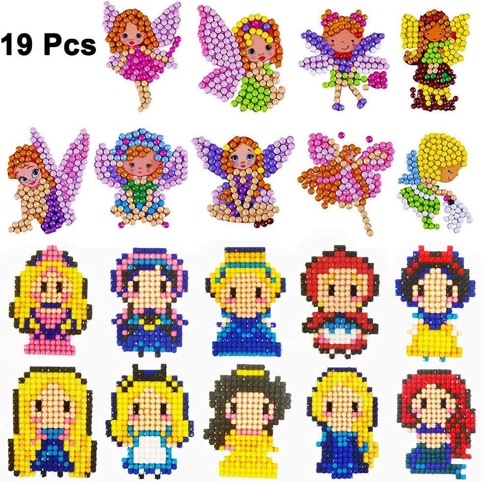 19Pcs 5D Diamond Painting Stickers Kits for Kids Princesses Diamond Art Mosaic Stickers by Number Kits Handmade DIY Diamond Painting Art Cute Princesses Painting