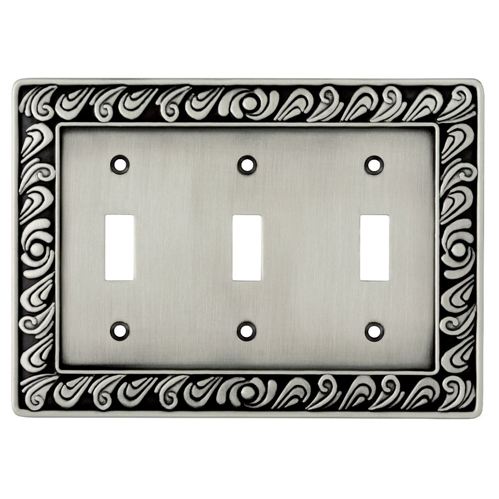 Franklin Brass 64054 Paisley Triple Toggle Switch Wall Plate/Switch Plate/Cover, Brushed Satin Pewter