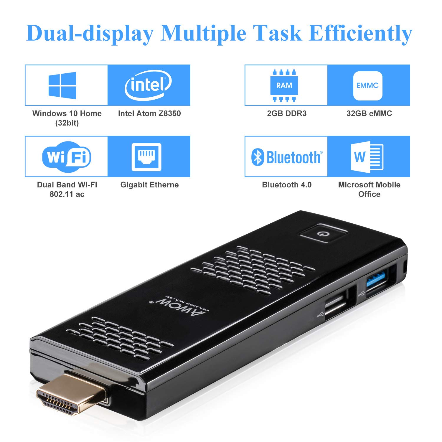 AWOW Windows 10 Compute Stick Mini PC - (Intel Atom z8350 Quad Core 1.44 GHz, 2GB DDR3, 32GB eMMC Flash, Dual Wi-Fi 2.4G+5G with 802.11 AC, HDMI, USB 3.0, ...
