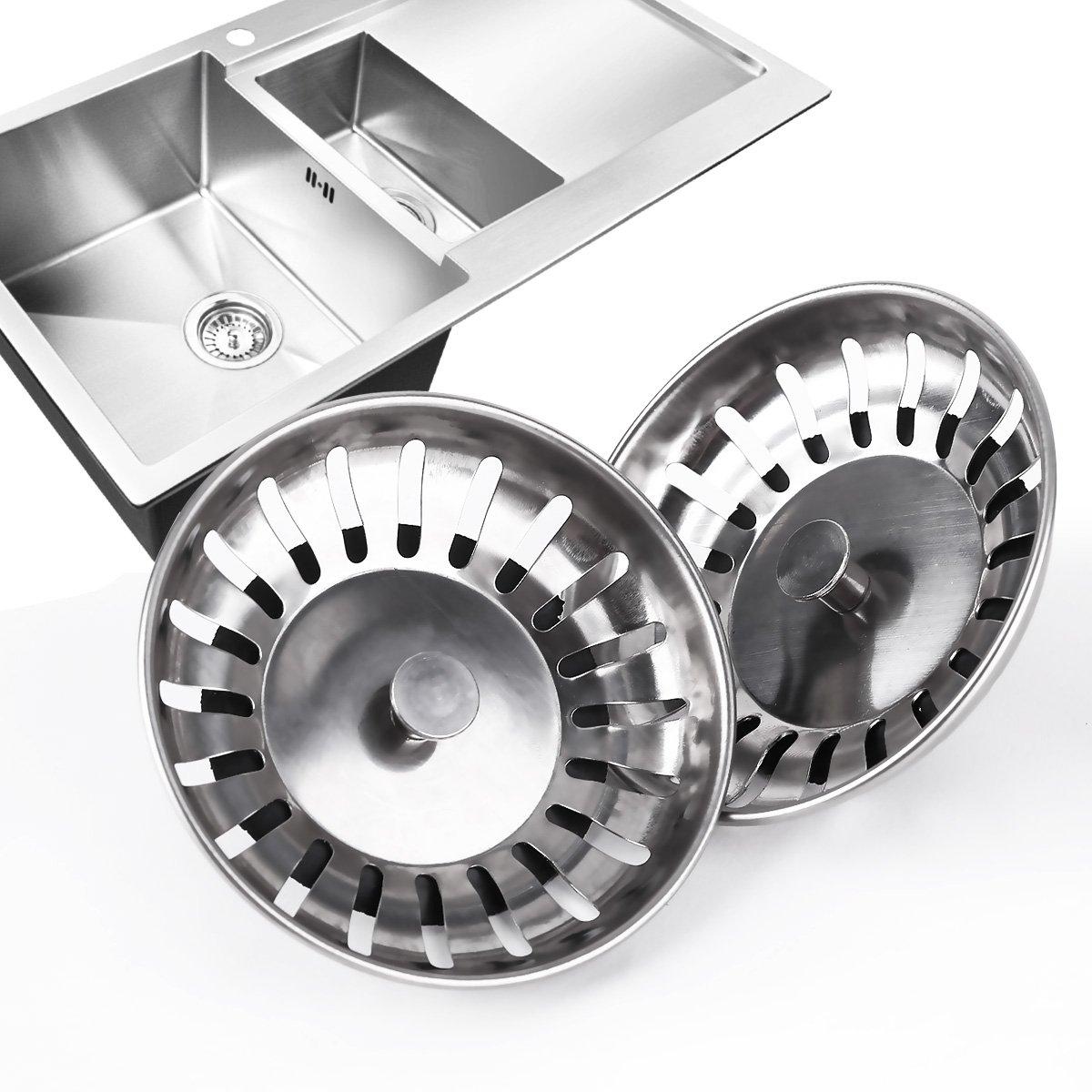 2x Kitchen Waste Stainless Steel Sink Strainer Plug Drain Stopper ...