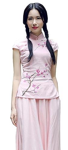 YueLian Para Mujeres Clásico Disfraz Oriental La Blusa de Tang del Verano La mejora de Cheongsam Cam...