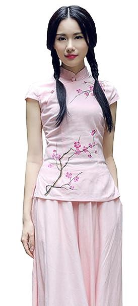 YueLian Mujeres Clásico Disfraz Oriental La Blusa de Tang del Verano La Mejora de Cheongsam Camisas