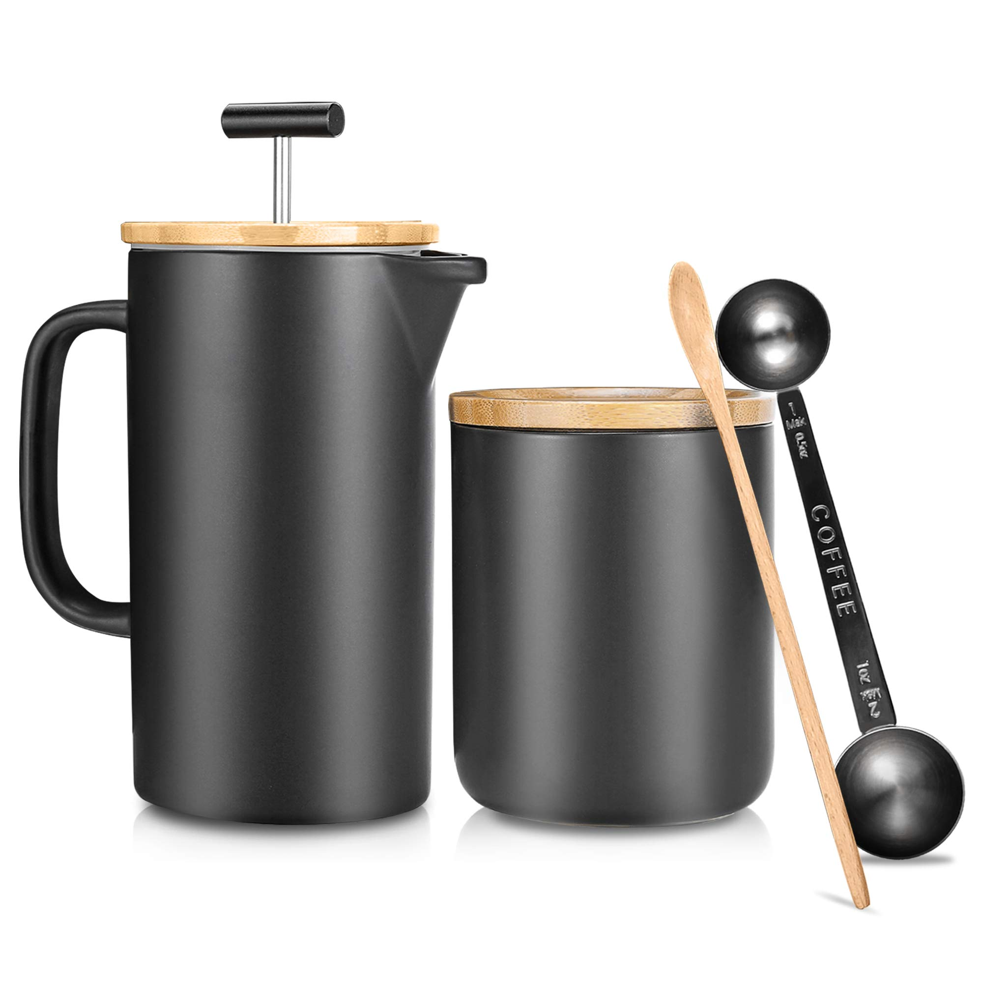 Ceramic French Press Coffee Maker/Coffee Plunger/Coffee Press (24 oz.) with Grounds Canister | Non-Porous Stoneware | Complimentary Measuring & Stirring Spoons