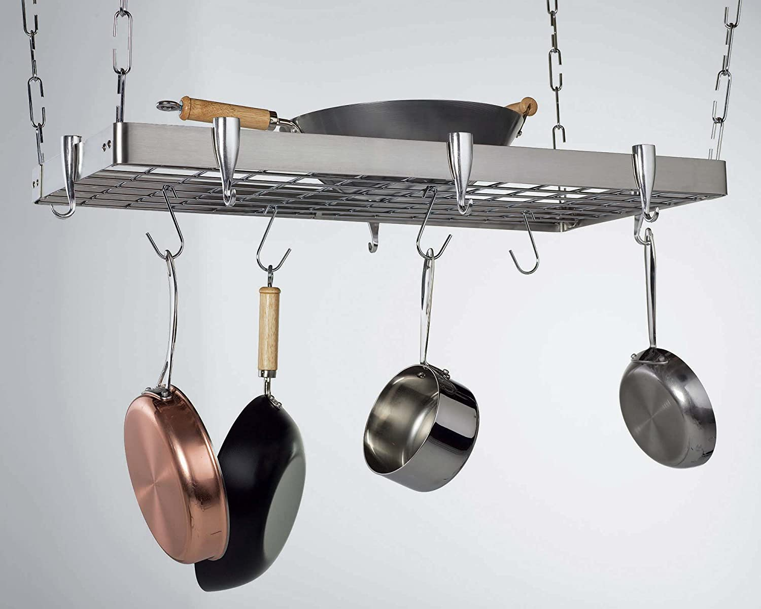 hooks oval dutch grid satin x dining with hanging amazon com racks pot rack kitchen nickel old dp