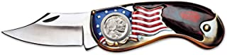 product image for American Flag Coin Pocket Knife with Buffalo Nickel   3-inch Stainless Steel Blade   Genuine United States Coin   Collectible   Certificate of Authenticity