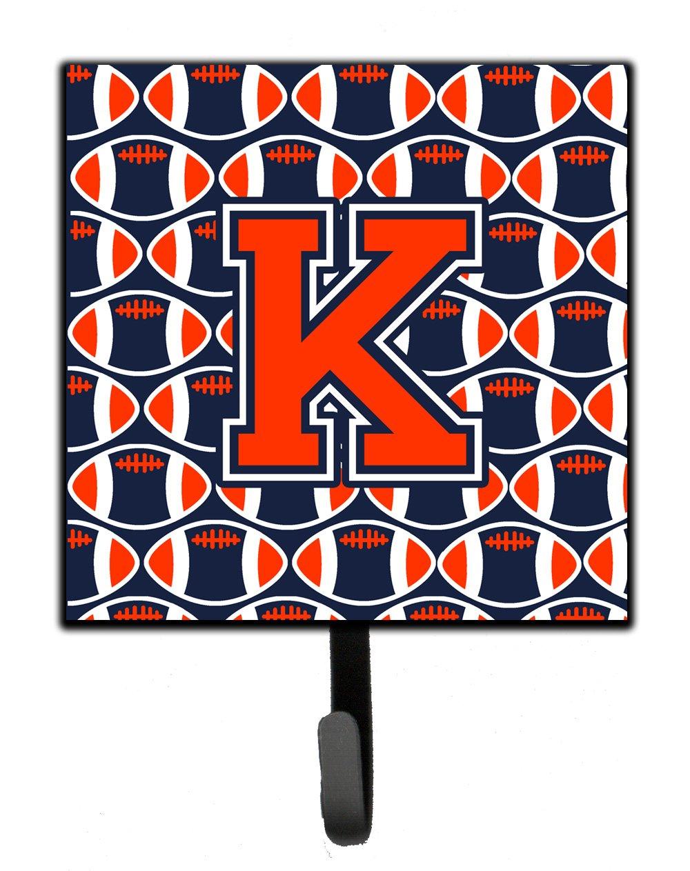 Carolines Treasures Letter K Football Orange Blue and White Leash or Key Holder CJ1066-KSH4 Small Multicolor