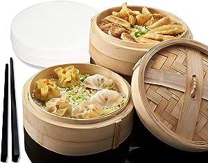 Bamboo Steamer Basket - 10 INCH Bamboo Steamer - Dumpling Steamer 100% Natural Bamboo Handmade Vegetable, Dim Sum, Asian Steamer Bamboo Basket - Healthy Cooking - 2 Tier, Lid, 50 Liners, & Chopsticks