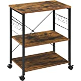 Mr IRONSTONE 3-Tier Kitchen Baker's Rack Utility Microwave Oven Stand Storage Cart Workstation Shelf (Rustic Brown)