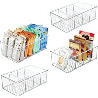 mDesign Plastic Food Storage Organizer Bin Box - 4 Divided Sections - Holder for Seasoning Packets, Pouches, Soups…