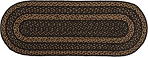 """VHC Brands Classic Country Primitive Tabletop & Kitchen - Farmhouse Jute Black Runner, 13"""" x 36"""""""