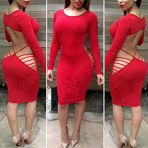 5ae8961f760 Meixuner New 2015 Fashion Women s Sexy Hollow Out Backless Irregular Bandage  Dress Night Club Party Dresses
