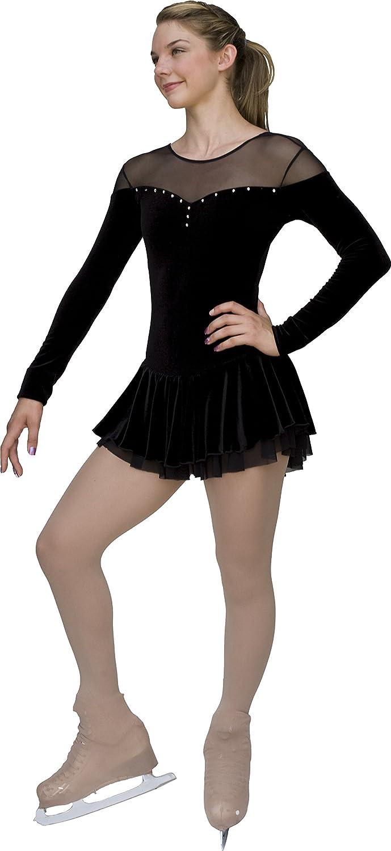 Chloe Noel DLV04 - Velvet Double Layer Mesh Skirt Figure Skating Dress DLV04 Black Child Extra Large/Adult Extra Small: Clothing