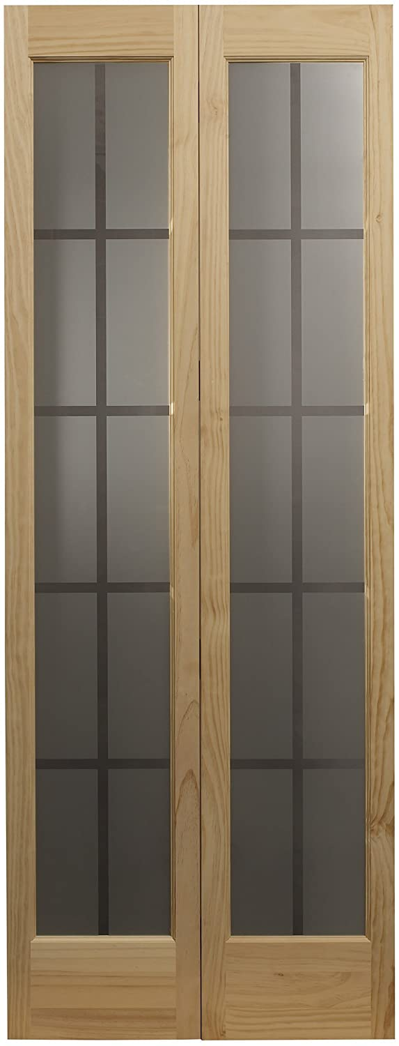 LTL Home Products 837328 Mission Glass Bifold Interior Solid Wood Door, 32 Inches x 80 Inches, Unfinished Pine