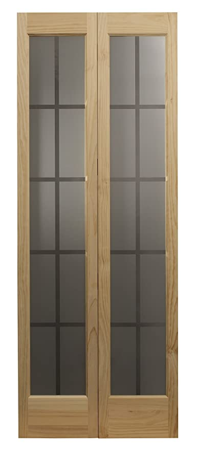 Pinecroft 837326 Mission Full Glass Bifold Interior Wood Door 30 X