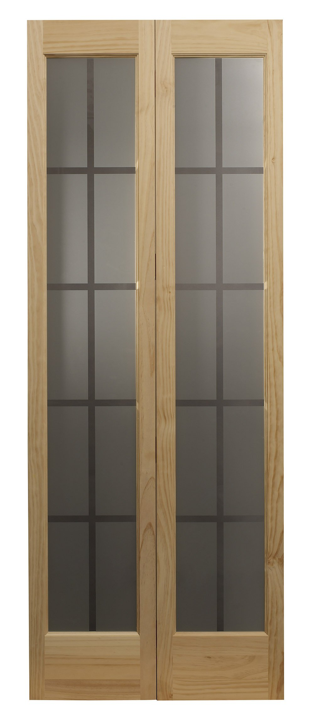 Pinecroft 837328 Mission Full Glass Bifold Interior Wood Door, 32'' x 80'', Unfinished