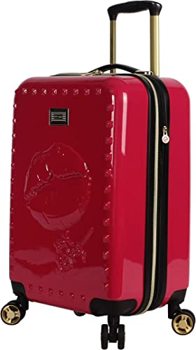 Betsey Johnson Designer 20 Inch Carry On – Expandable ABS PC Hardside Luggage – Lightweight Durable Suitcase With 8-Rolling Spinner Wheels for Women Lip Service Red