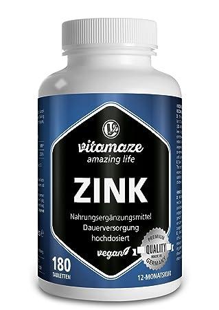 Zinc, comprimidos veganos de 25 mg para 12 meses, la mejor biodisponibilidad, producto de calidad made in Germany sin estearato de magnesio