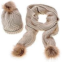 Outflower - Conjunto de bufanda de punto para mujer, gorro de invierno suave, cómodo y cálido
