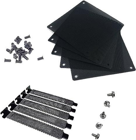 5x PCI Slot Cover Dust Filter Blanking Plate Hard Steel Black w//screws