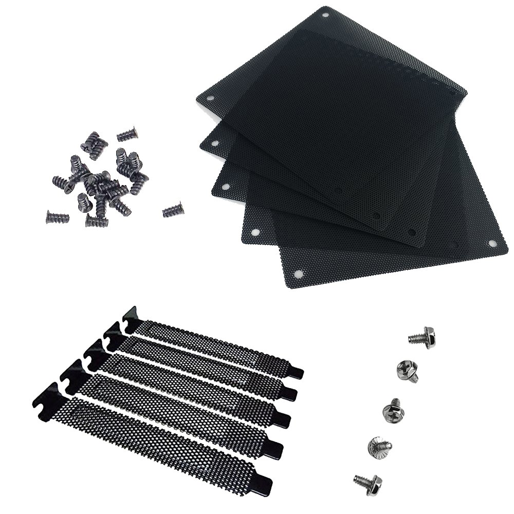 Nincha 12mm PVC Computer PC Cooler Fan Filter Black Dustproof Case Cover Computer Mesh Pack of 5 + Black Hard Steel Dust Filter Blanking Plate PCI Slot Cover 5 Pcs with Screws.