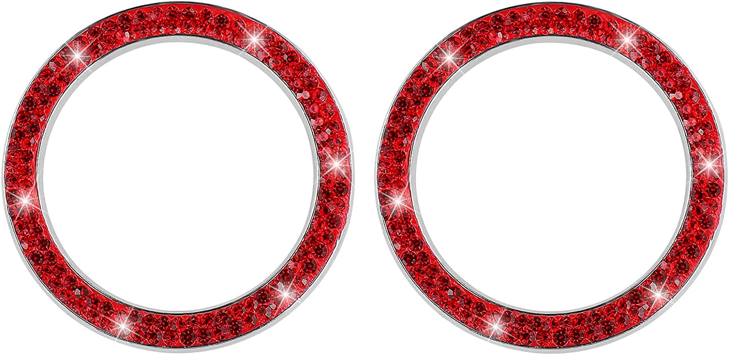 BESPORTBLE 2PCS Crystal Rhinestone Car Bling Decorations Ring Emblem Sticker Decor Car Engine Start Stop Button Bling Accessories Red