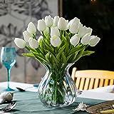 GL-Turelifes Tulipani Artificiali Stelo Singolo Real Touch PU Tulipani Disposizione Flora Bouquet Home Decor 10pcs (White)