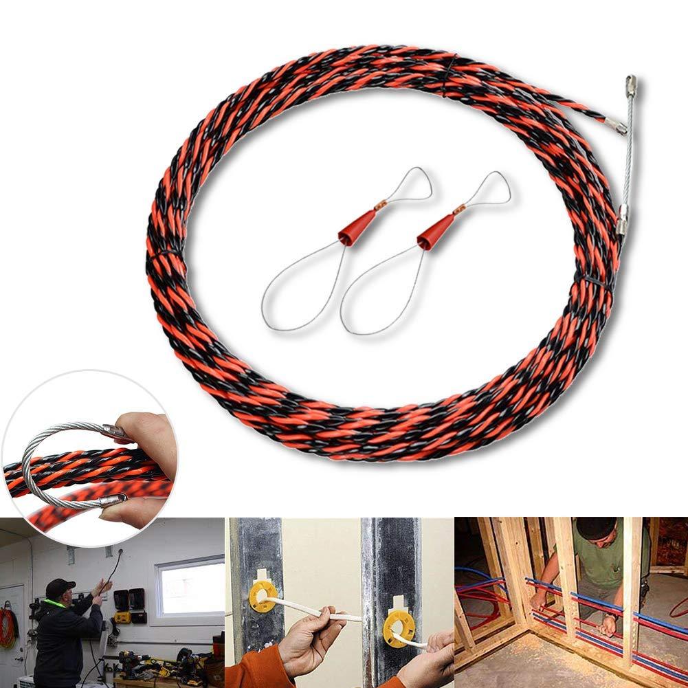 Fibra Alambre Push Extractor Profesional Gu/ía Dispositivo con Cable Tensor El/éctrico Espiral Ducto Accesorios 10m Gu/ía Cinta Set
