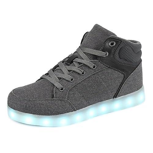 Dannto led Zapatillas Luces Niños Deportivos Shoes Recargables Luz Zapatos Flashing High Top Zapatillas con USB