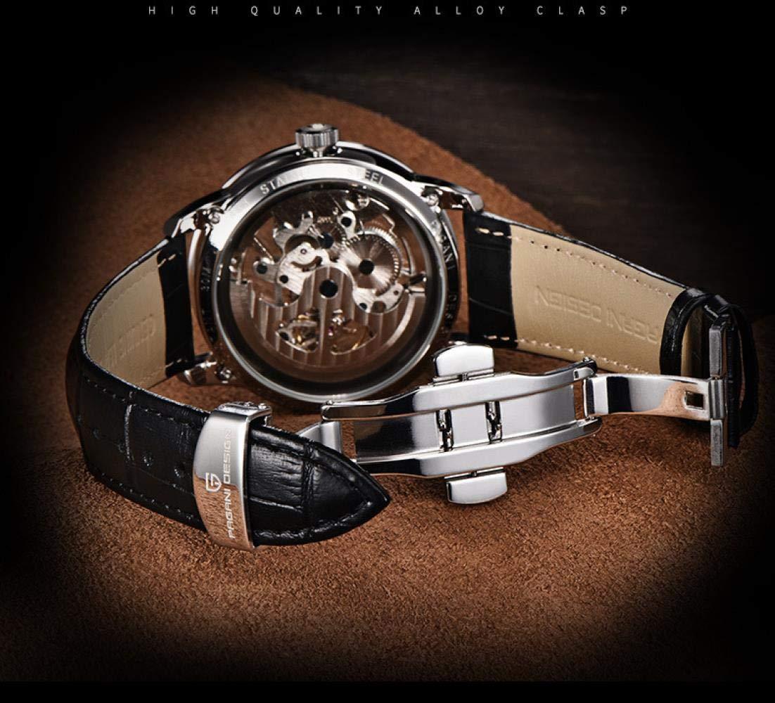 Herrklockor, automatisk ihålig modeklocka Black Shell Black Belt