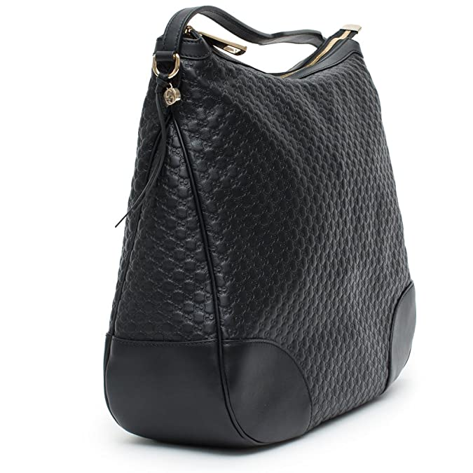 Amazon.com  Gucci Bree Guccissima Leather Hobo Bag Black New  Shoes f742548fbf32f