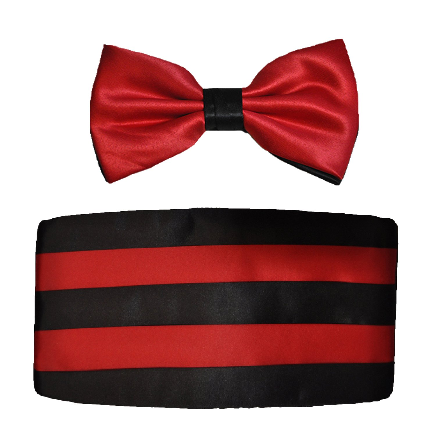 Mens Black and Red Satin Cummerbund & Bow Tie Set