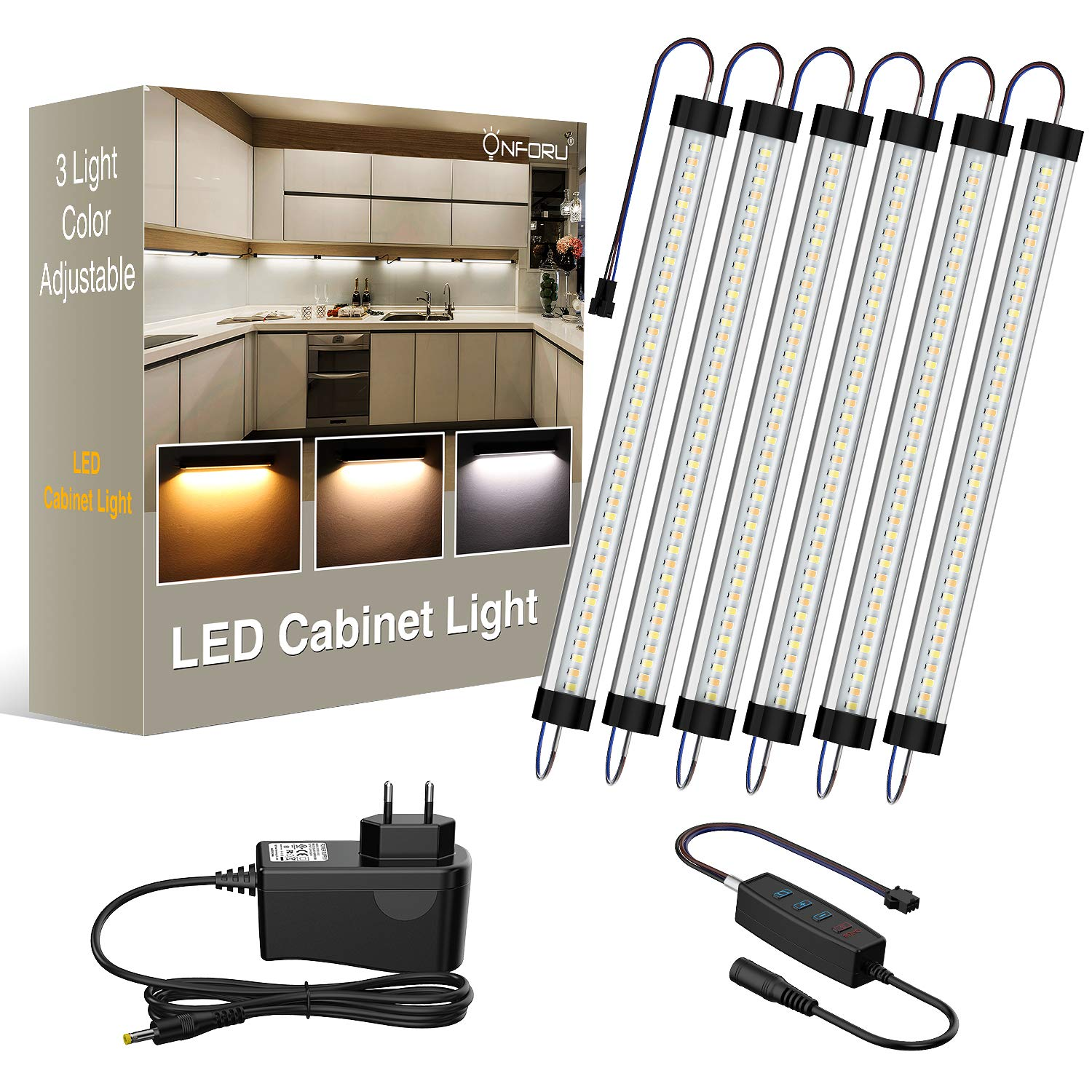 Onforu LED Under Cabinet Lighting Kit, 3 Adjustable Lights Color 2400lm Dimmable Strip Lights, Warm/Daylight/Neutral White Optional Under Counter Light Bar, DC 12V Closet Lights, Set of 6