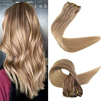 Easyouth 14 Brazilian Clip In Hair Balayage Color 10 Highlighted With Color 16 Fading To 16 120