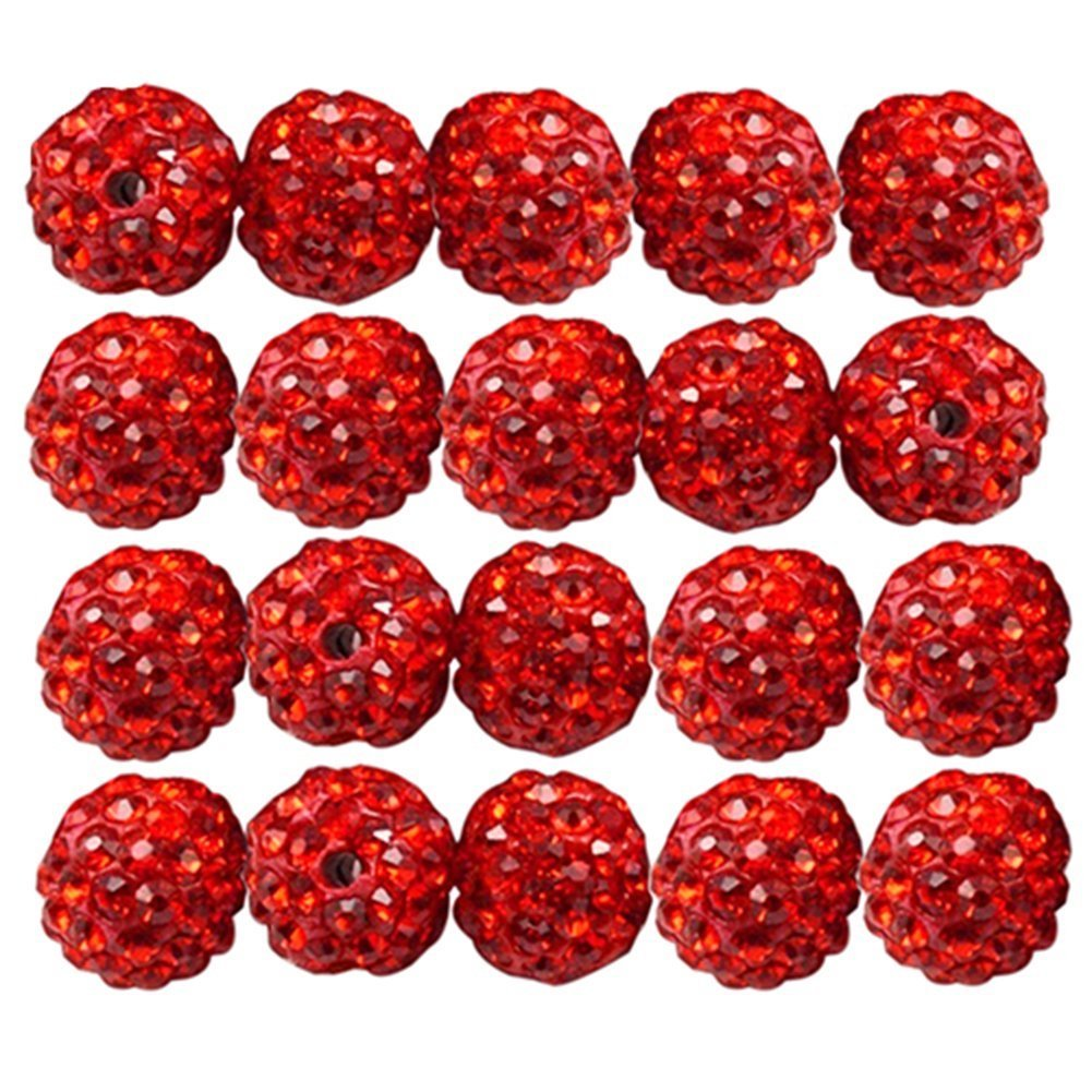 Brussels08 20Pcs Czech Rhinestones Pave Clay Loose Beads Round Disco Ball Spacer Beads for DIY Jewelry Making Craft (Multicolor) TRTAZ11A