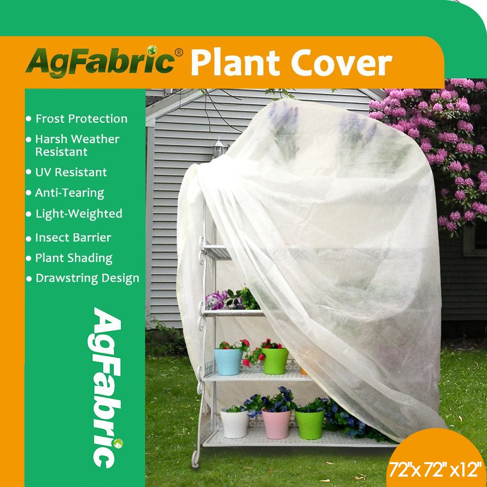 Agfabric Plant Cover Plant Shade Protection Bags - 0.95 oz Fabric of 72''x72''x12'' Shrub Jacket, 3D Cube Plant Cover for for Bug/Insect Barrier