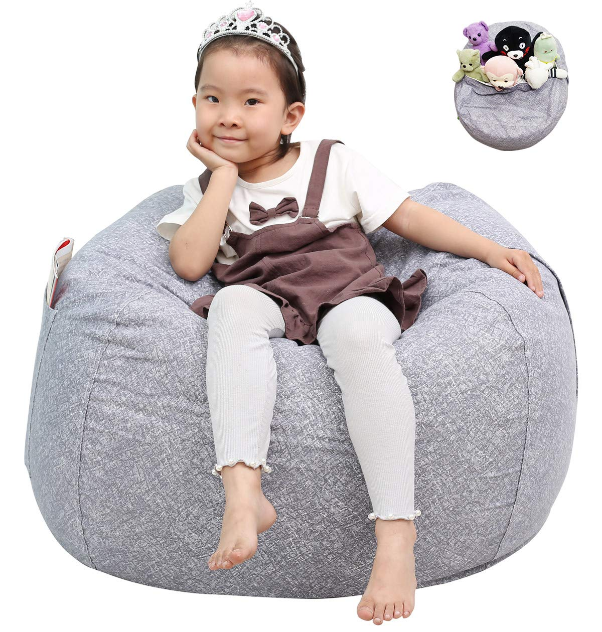 Great Eagle Stuffed Animal Storage Bean Bag Chair Cover 38x38 Inches Extra Large Cotton Canvas   Bean Bag Chair for Kids, Toddlers and Teens(Boys or Girls) Toy Storage Bag (Grey/Marblings) by Great Eagle