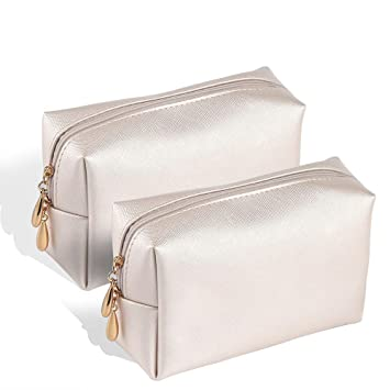 a07da3181225 Etmury Cosmetics Bag Leather Makeup Case with Gold Zippered for Brushes  Lipstick Perfume Make up...