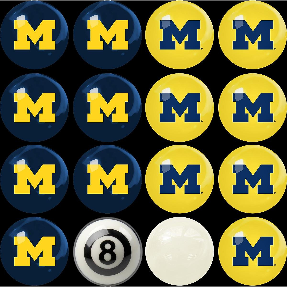 Imperial Officially Licensed NCAA Merchandise: Home vs. Away Billiard/Pool Balls, Complete 16 Ball Set, Michigan Wolverines