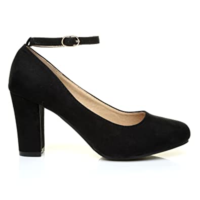 ZARA Black Suede Block Heel Ankle Strap Round Toe Court Shoes ...