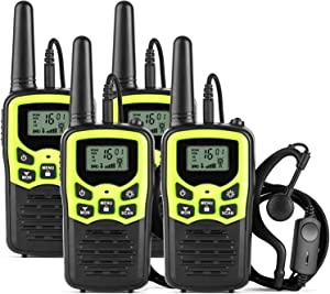 Ankreu Walkie Talkies for Adults &Kids Long Range 4 Pack Green 2-Way Radio Walkie Talkie up to 5 Miles Range in The Open Fields 22 Channel FRS/GMRS Handheld Walky Talky with Headsets/Earpieces