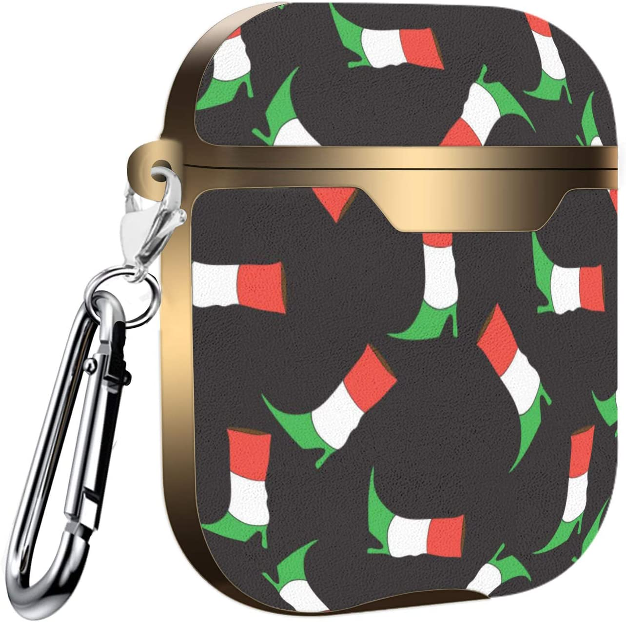Doodle Italian Flag Colors Boot Slim Form Fitted Printing Pattern Cover Case with Carabiner Compatible with Airpods 1 and AirPods 2