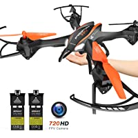 DBPOWER Cool Big Size App Controlled RC Drone with FPV 720P HD Camera, 2 Batteries, 3D Flips and Headless Mode for Beginners & Kids