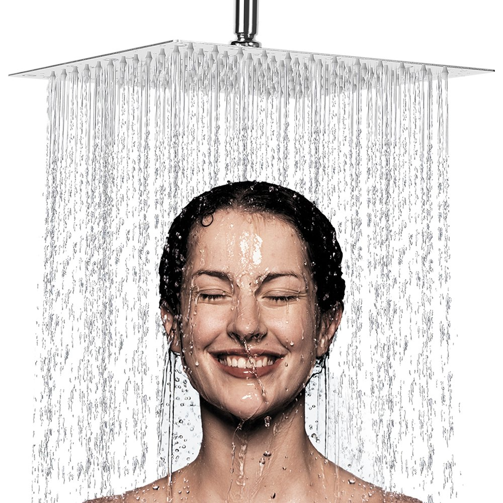 12 Inch Rain Shower Head, NearMoon High Pressure Stainless Steel Bath Shower, Ultra Thin Rainfall Showerhead Waterfall Body Covering with Silicone Nozzle and Powerful Spray Performance (12