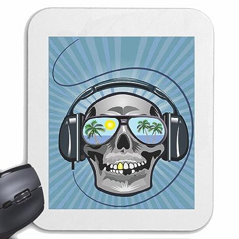 Mousepad alfombrilla de ratón Cráneo con los auriculares HAWAII DE SOL TECHNO FUNKY JAZZ FESTIVAL DEL ...