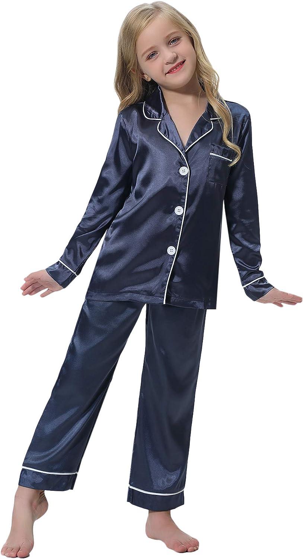 Hawiton Girls Satin Silk Pjs Pyjamas Set Long Sleeve Kids Sleepwear Nightwear Outfit