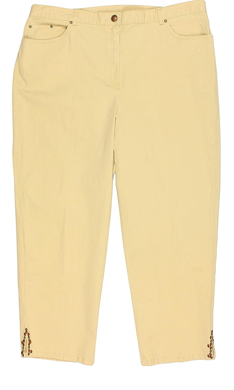Ruby Rd. Women's Plus Size Cotton Twill Capri Pants with Beaded Hem