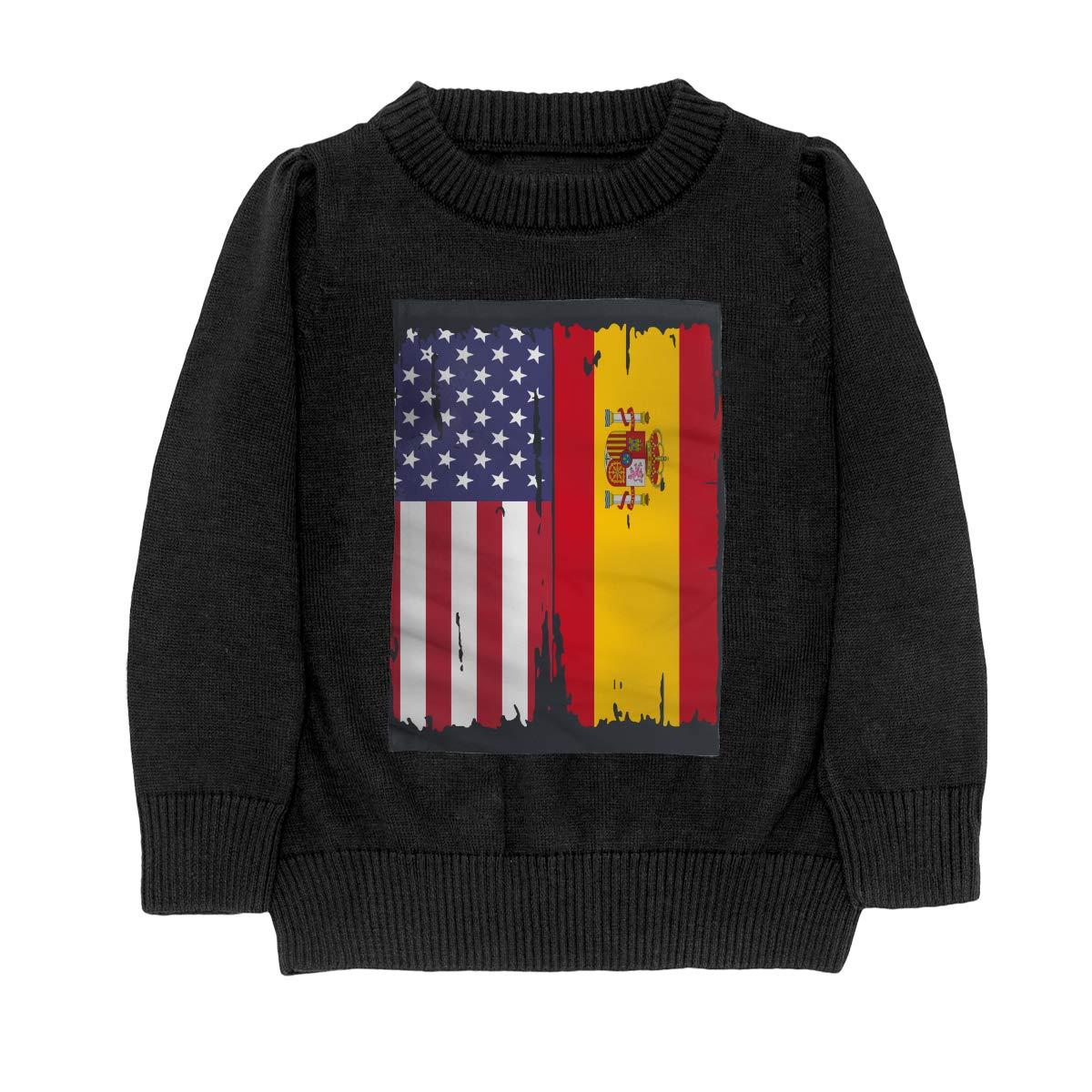 WWTBBJ-B American Spain Flag Fashion Adolescent Boys Girls Unisex Sweater Keep Warm