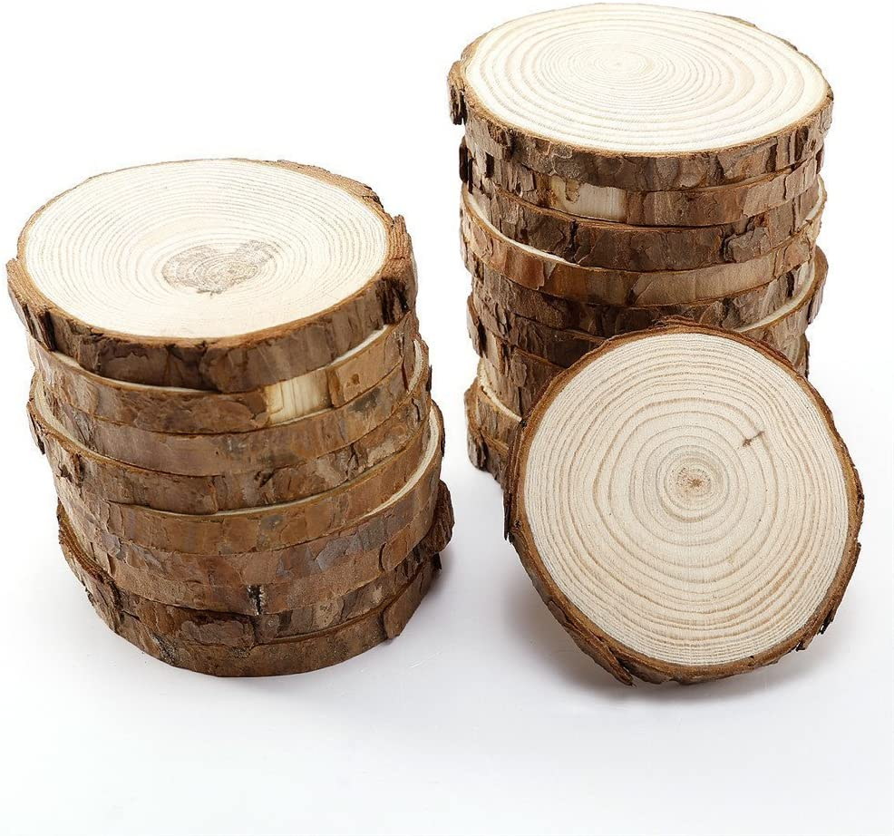 Natural Wood Slices 15 Pcs 3 5 4 Craft Wood Slices Unfinished Wooden Circles Great For Arts And Crafts Christmas Ornaments Diy Crafts Amazon Com