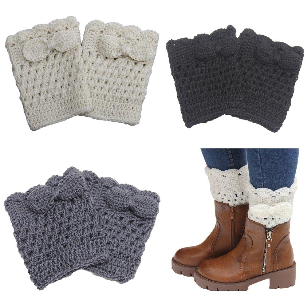 Jelinda Girl's Knit Bowknot Flower Short Leg Warmer Boot Cuffs Socks Cover (Bowknot-Set of 4 pairs)
